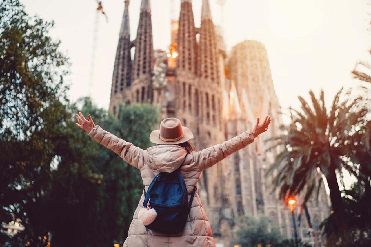 """<p>The question isn't what should you do in Spain, it's how much time do you have! Here's a quick list of attractions you must check out: tapas at <a href=""""https://www.timeout.com/barcelona/restaurants/bar-lobo"""" target=""""_blank"""" class=""""ga-track"""" data-ga-category=""""Related"""" data-ga-label=""""https://www.timeout.com/barcelona/restaurants/bar-lobo"""" data-ga-action=""""In-Line Links"""">Bar Lobo</a>, Gothic Quarter, Park Güell, La Sagrada Familia, coffee and pastries at <a href=""""http://fornsdelpi.com/"""" target=""""_blank"""" class=""""ga-track"""" data-ga-category=""""Related"""" data-ga-label=""""http://fornsdelpi.com/"""" data-ga-action=""""In-Line Links"""">Forns del Pi</a>, and catch a traditional flamenco show at Tarantos Club Barcelona. Also, churros and chocolate are a must, as is a trip to Barcelona beach.</p> <p><strong>Traveler's tip:</strong> <a href=""""https://www.popsugar.com/smart-living/Items-Prevent-Pickpocketing-43925183"""" target=""""_blank"""" class=""""ga-track"""" data-ga-category=""""Related"""" data-ga-label=""""http://www.popsugar.com/smart-living/Items-Prevent-Pickpocketing-43925183"""" data-ga-action=""""In-Line Links"""">pickpocketing is a very common crime</a> in Barcelona, so make sure to leave sentimental or costly personal items at home, and keep an eye (and hand) on your purse at all times.</p>"""