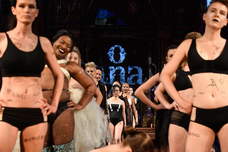 <p>The models and breast cancer survivors in the AnaOno x #Cancerland show during NYFW. (Photo: Getty) </p>