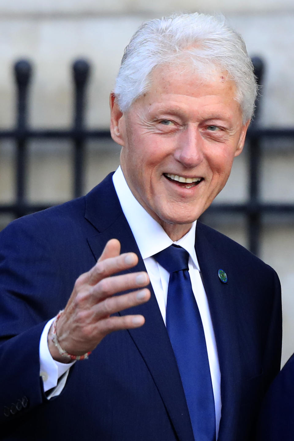 Former U.S. President Bill Clinton arrives at Saint Sulpice church in Paris, Monday, Sept. 30, 2019. (AP Photo/Michel Euler)