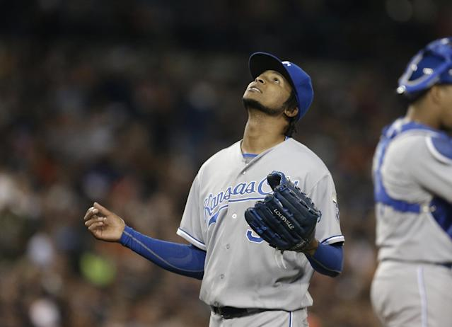 Kansas City Royals starting pitcher Ervin Santana looks skyward after being pulled during the seventh inning of a baseball game against the Detroit Tigers in Detroit, Saturday, Sept. 14, 2013. (AP Photo/Carlos Osorio)