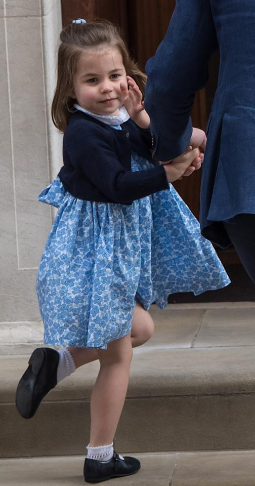 <p>On April 23 2018, Princess Charlotte visited St Mary's Hospital in London to meet her little brother. For the momentous occasion, the two-year-old donned a sweet smock dress by Little Alice London. The £43 dress soon sold out from the website, which was founded by one of Kate Middleton's old school friends.<em> [Photo: Getty]</em> </p>