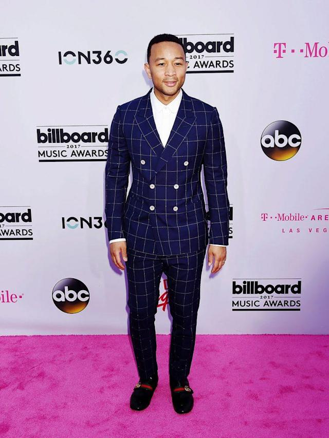 John Legend attends the 2017 <em>Billboard</em> Music Awards solo on Sunday. (Photo: Jeffrey Mayer/WireImage)