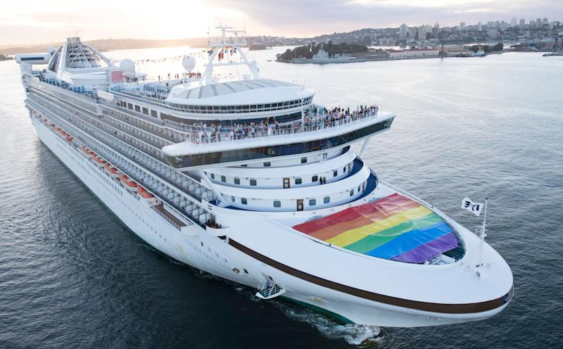 The Golden Princess arrives in Sydney Harbour flying the rainbow flag in support of marriage equality.