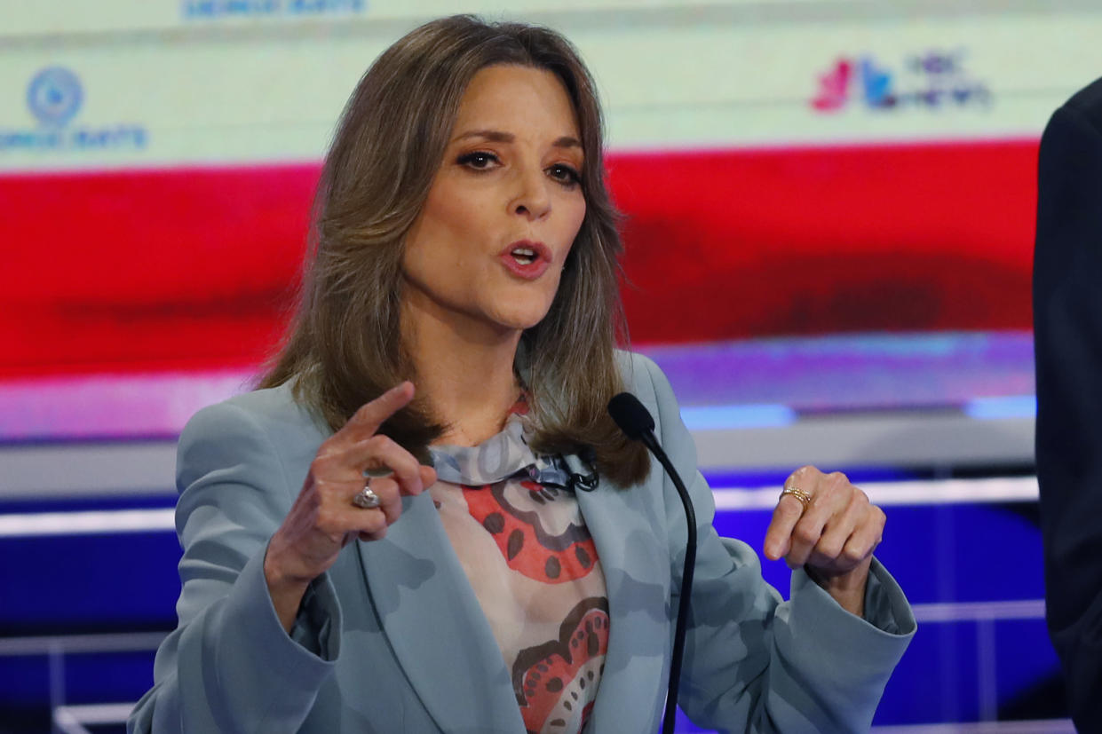 Presidential candidate and author Marianne Williamson at the Democratic primary debate on Thursday night (Photo: Wilfredo Lee/AP)
