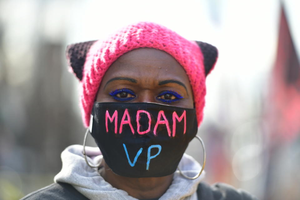 WASHINGTON D.C., JANUARY 20- A general view of people's celebrations and reactions at Black Lives Matter Plaza during 2021 United States Presidential Inauguration of Joe Biden on January 20, 2021 in Washington D.C. Photo: Chris Tuite/ImageSPACE/MediaPunch /IPX