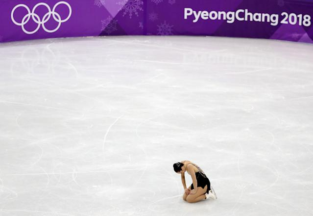 Figure Skating - Pyeongchang 2018 Winter Olympics - Women Single Skating free skating competition final - Gangneung Ice Arena - Gangneung, South Korea - Kaetlyn Osmond of Canada reacts after finishing. REUTERS/Lucy Nicholson