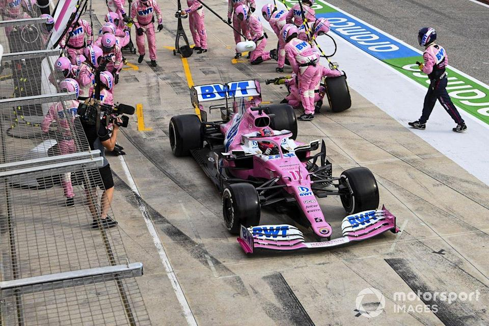 "Sergio Perez, Racing Point RP20, leaves his pit box<span class=""copyright"">Mark Sutton / Motorsport Images</span>"