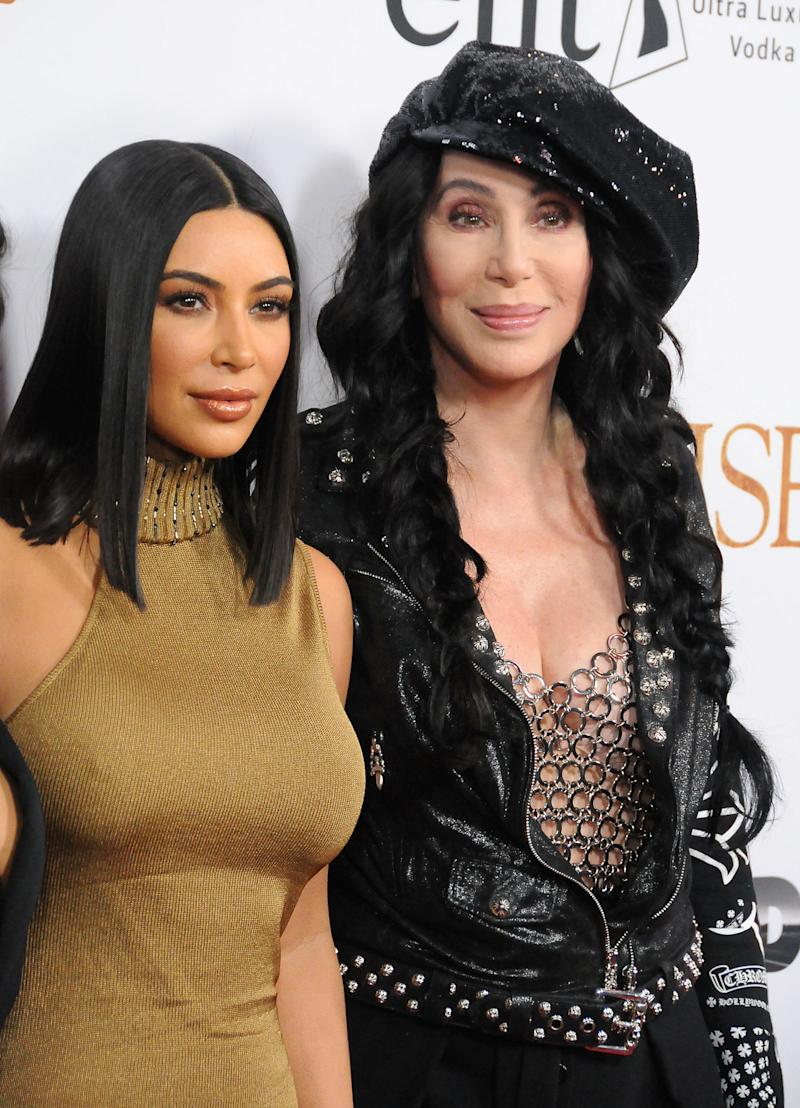 Kim Kardashian and Cher on April 12 in Hollywood.  (Barry King via Getty Images)