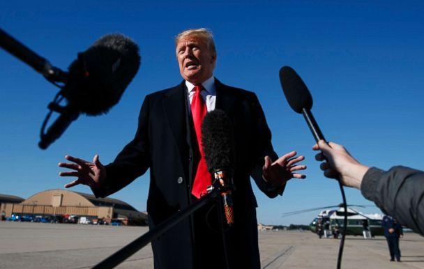 PHOTO: President Donald Trump talks to the media about Jamal Khashoggi before boarding Air Force One on Oct. 18, 2018, in Andrews Air Force Base, Md. (Carolyn Kaster/AP)