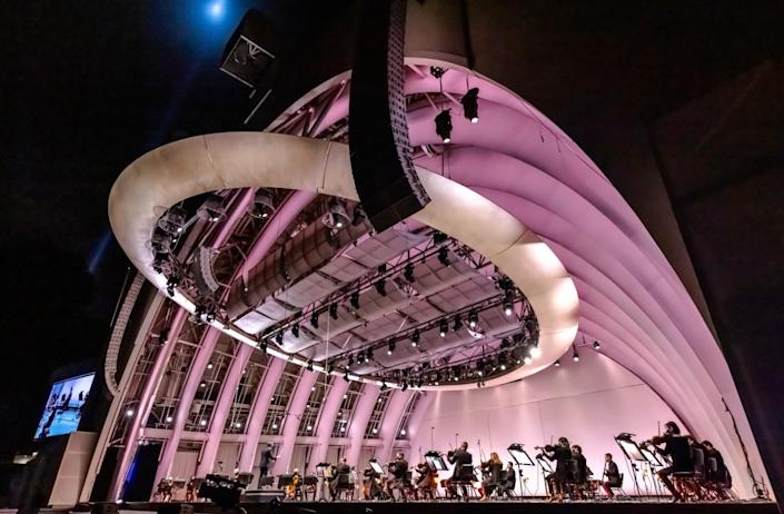 A view of the Hollywood Bowl hatch shell