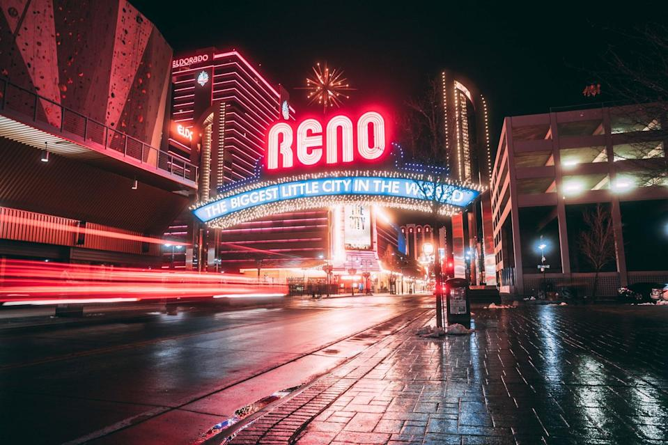 "<p><a href=""http://www.visitrenotahoe.com/"" class=""link rapid-noclick-resp"" rel=""nofollow noopener"" target=""_blank"" data-ylk=""slk:Reno Tahoe"">Reno Tahoe</a> offers outdoor adventure, delicious cuisine, and a thriving art scene. Visitors can check in to the <a href=""https://www.whitneypeakhotel.com/"" class=""link rapid-noclick-resp"" rel=""nofollow noopener"" target=""_blank"" data-ylk=""slk:Whitney Peak Hotel"">Whitney Peak Hotel</a>, a boutique, active-lifestyle and pet-friendly property with an onsite music venue, Cargo Concert Hall, and indoor rock-climbing gym. While in town, grab a bite to eat and try a beer flight nearby at <a href=""http://thedepotreno.com/"" class=""link rapid-noclick-resp"" rel=""nofollow noopener"" target=""_blank"" data-ylk=""slk:The Depot"">The Depot</a>, Nevada's first combined brewery and distillery. Groups can also book a <a href=""http://www.renobrewbike.com/"" class=""link rapid-noclick-resp"" rel=""nofollow noopener"" target=""_blank"" data-ylk=""slk:Reno Brew Bike"">Reno Brew Bike</a> to pedal together around town with their own local guide, stopping at all of Reno's best pubs.</p>"