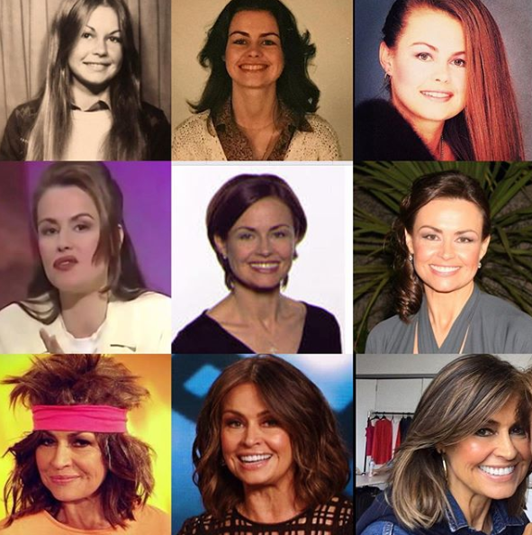 A collage of Lisa Wilkinson's hair and makeup looks over the years.