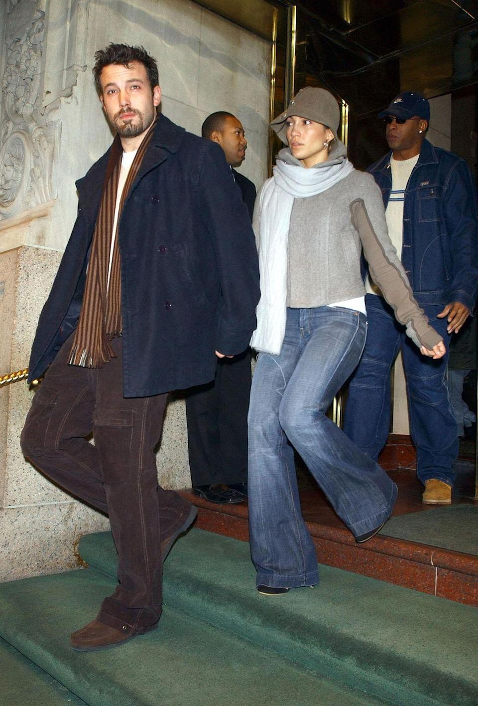 <p>The goatee! The bucket hat! Bring us back! Bennifer leave their midtown Manhattan hotel on December 12, 2003 to do some holiday shopping. </p>