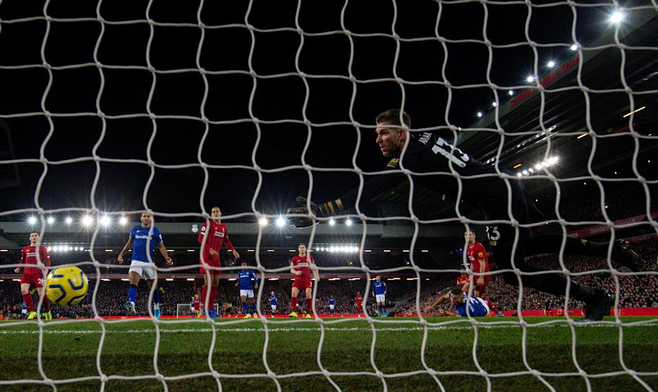 LIVERPOOL, ENGLAND - DECEMBER 04: Everton's Richarlison scores his side's second goal during the Premier League match between Liverpool FC and Everton FC at Anfield on December 4, 2019 in Liverpool, United Kingdom. (Photo by Alex Dodd - CameraSport via Getty Images)