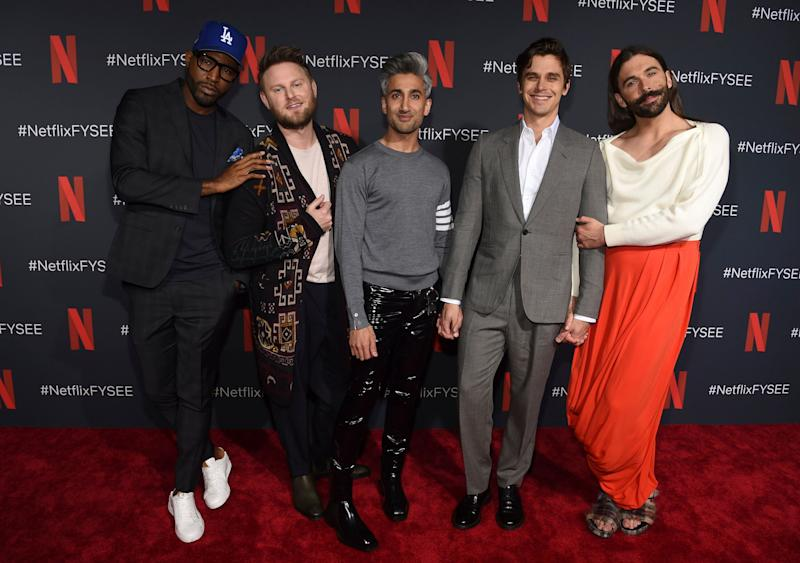"Tan France (centre), joins his Queer Eye co-stars Karamo Brown, Bobby Berk, Antoni Porowski and Jonathan Van Ness on the red carpet at a For Your Consideration event for ""Queer Eye"" at Raleigh Studios on Thursday, May 16, 2019, in Los Angeles. (Photo by Chris Pizzello/Invision/AP)"