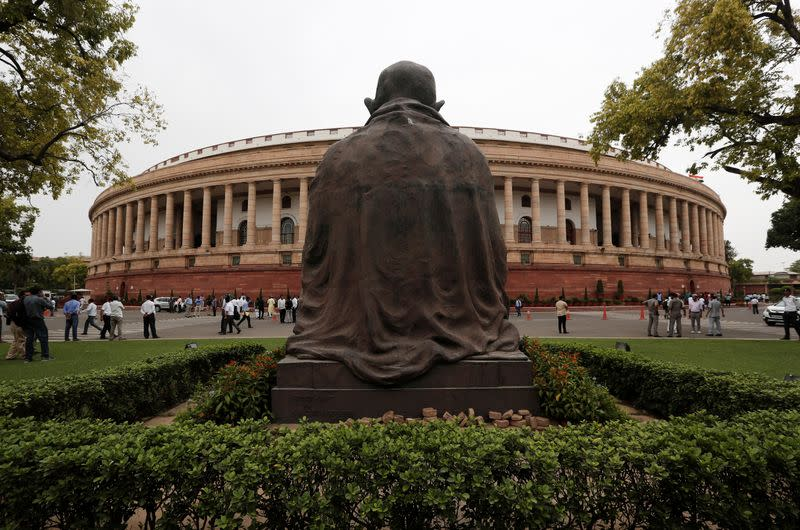The Indian parliament building is pictured on the opening day of the parliament session in New Delhi