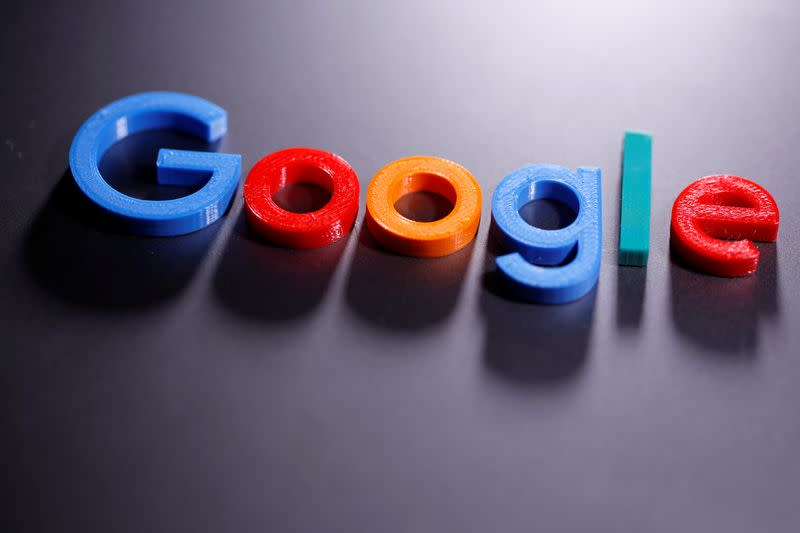 A 3D printed Google logo is seen in this illustration taken