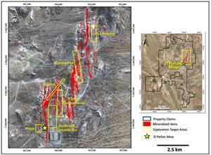 El Peñón Property Plan Map Showing Principle Veins And Select Exploration Target Areas. Star Symbol Indicates Location Of Mine Plant Facility.