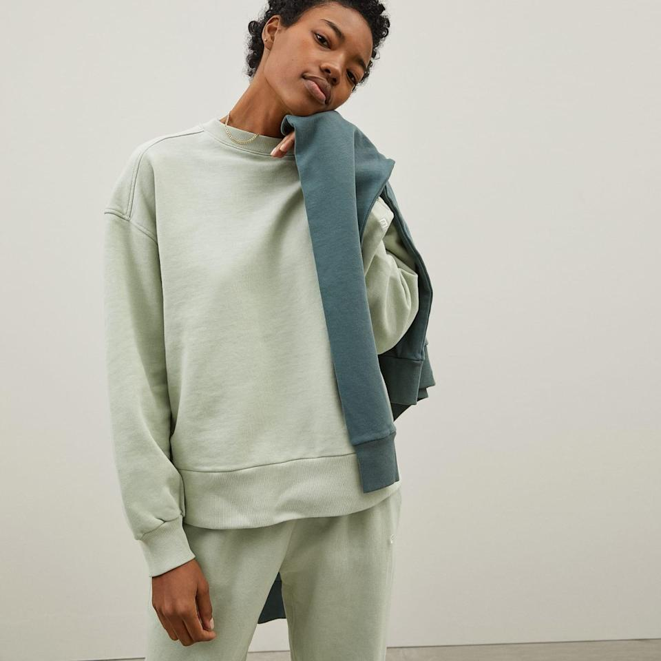 <p>Everlane has always been transparent about its processes. The brand's ReNew collection is made from 100 percent recycled plastic. </p> <p><strong>What We'd Buy</strong>: <span>Everlane The Track Oversized Crew</span> ($48)</p>