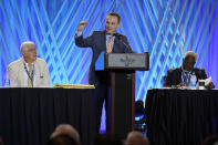 Dr. Ronnie Floyd, center, president and CEO of the executive committee of the Southern Baptist Convention, speaks during the executive committee plenary meeting at the denomination's annual meeting Monday, June 14, 2021, in Nashville, Tenn. (AP Photo/Mark Humphrey)
