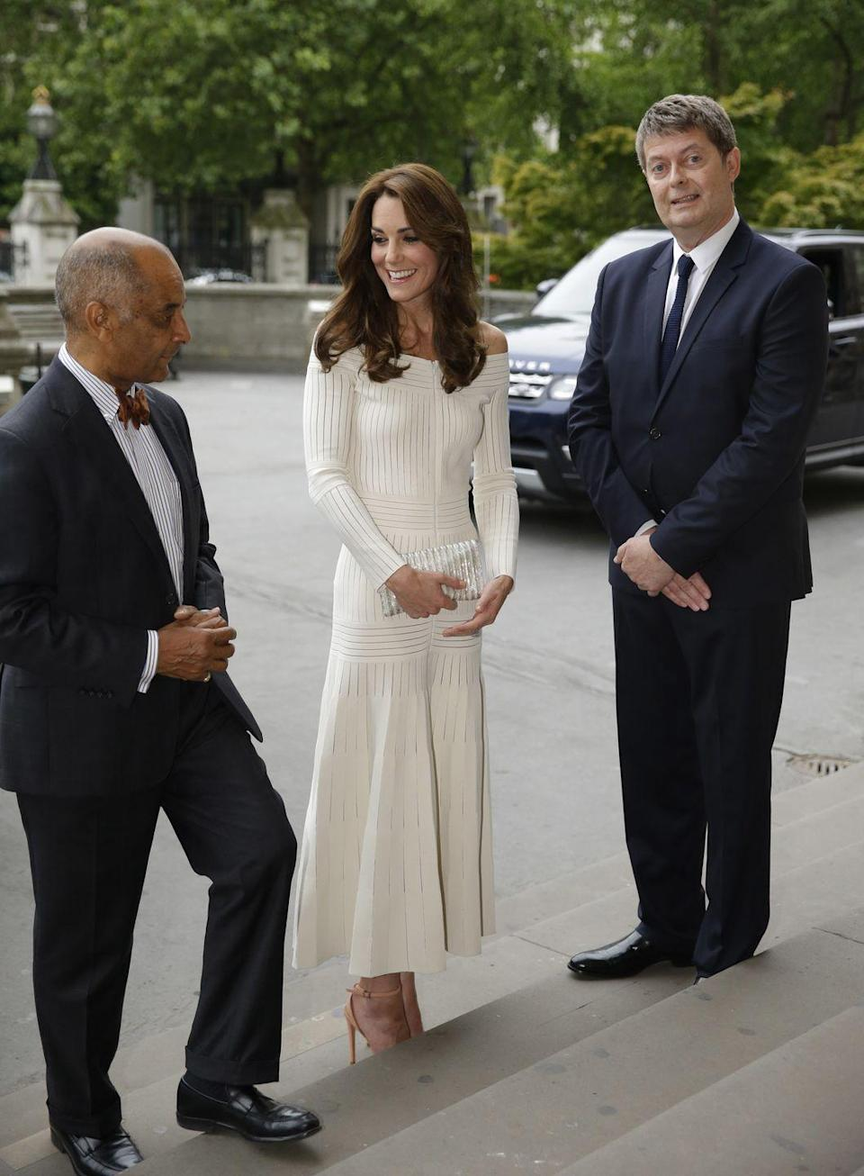 <p>The Duchess first wore this daring dress by Barbara Casasola to the Natural History Museum to present the Art Fund Museum Of The Year 2016 Prize. </p>