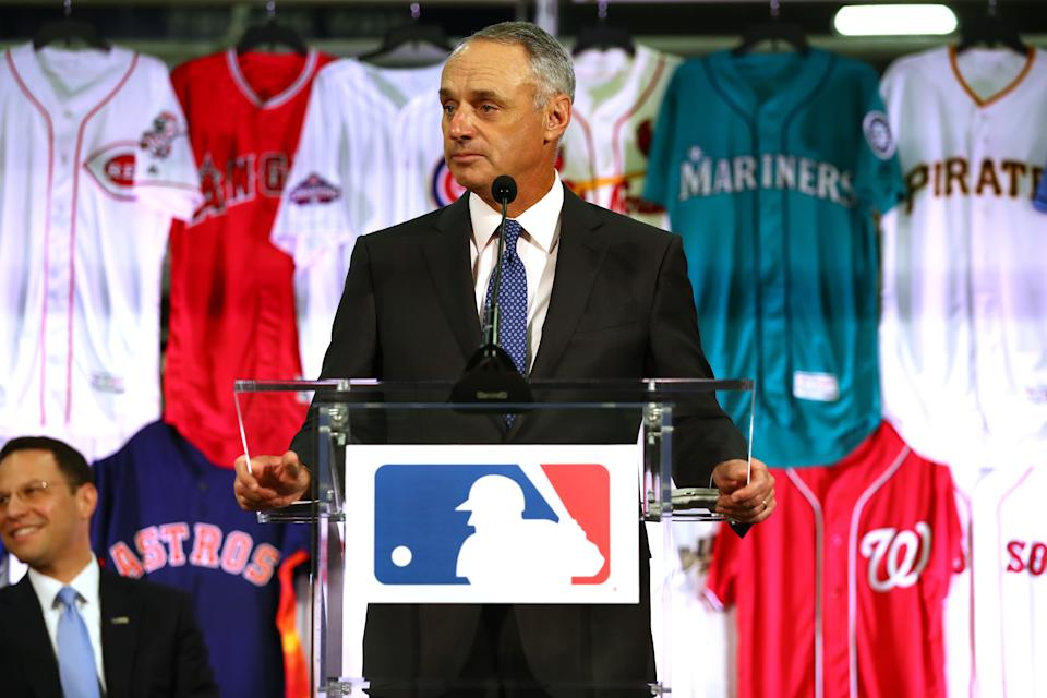 EASTON, PA - APRIL 4: Commissioner of Baseball Robert D. Manfred Jr. speaks during a joint announcement between Fanatics and VF Licensed Sports Group at the Majestic Factory on Tuesday April 4, 2017 in Easton, Pennsylvania. (Photo by Alex Trautwig/MLB via Getty Images)