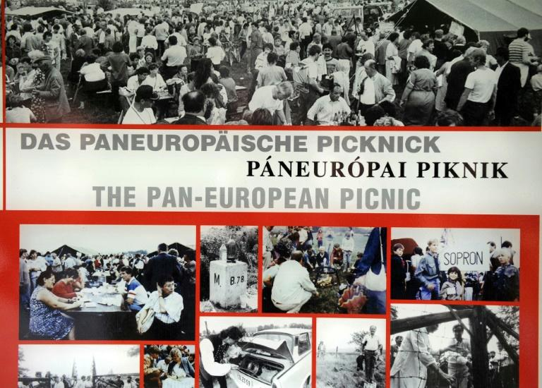 A collage of photos, displayed in 2009, of the 1989 Pan-European Picnic, when East Germans fled across the Austrian-Hungarian border