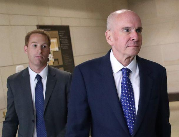 PHOTO: P. Michael McKinley, right, former senior adviser to Secretary of State Mike Pompeo, walks away from a closed door hearing at the U.S. Capitol in Washington, D.C., Oct. 16, 2019. (Mark Wilson/Getty Images, FILE)