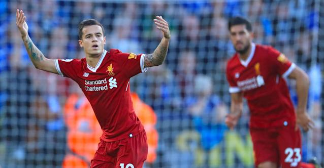 Coutinho salutes the fans after scoring Liverpool's second