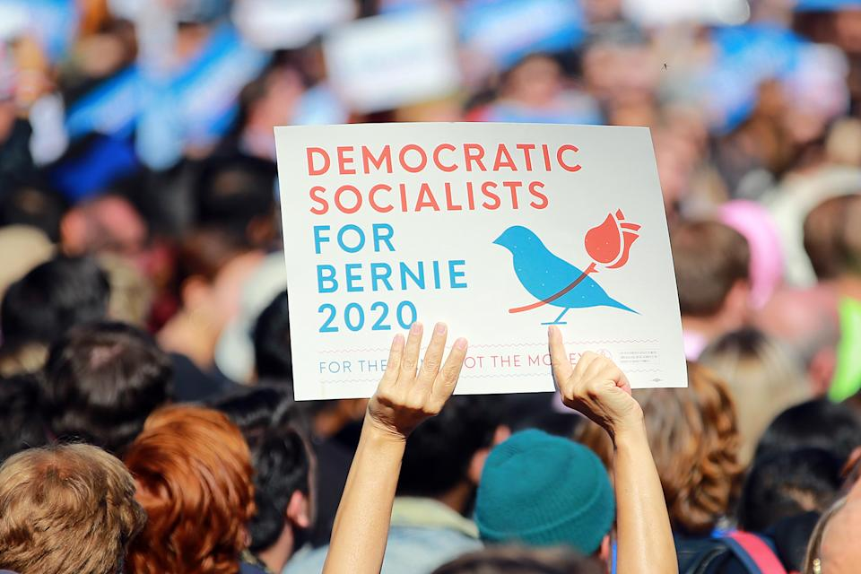 Supporters hold up sign at the Bernie's Back Rally in Long Island City, New York on Saturday, Oct. 19, 2019. (Photo: Gordon Donovan/Yahoo News)