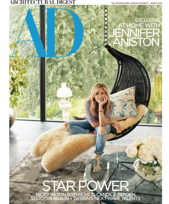 Jennifer Aniston on the cover of the March 2018 issue of <em>Architectural Digest</em>. (Photo: ArchDigest/Francois Dischinger)