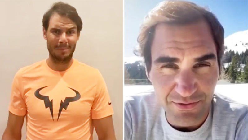 Rafael Nadal (pictured left) talks to the camera and Roger Federer (pictured right) shares a message to fans.