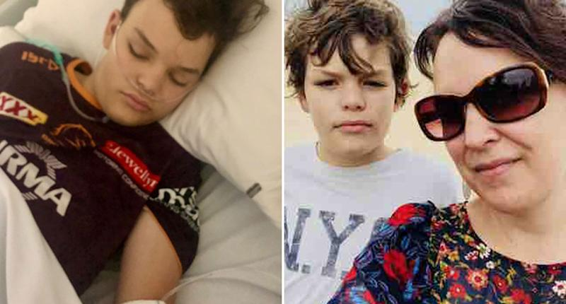 Adam Jay, 13, is pictured in a hospital bed and with his mum Monique Jay.