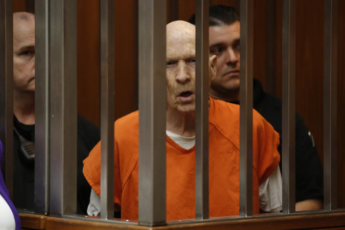 FILE - In this March 12, 2020, file photo, Joseph James DeAngelo, charged with being the Golden State Killer, appears in court in Sacramento, Calif. The 74-year-old former police officer is tentatively set to plead guilty Monday, June 29, 2020, to being the elusive Golden State Killer. The hearing comes 40 years after a sadistic suburban rapist terrorized California in what investigators only later realized were a series of linked assaults and slayings. (AP Photo/Rich Pedroncelli, File)