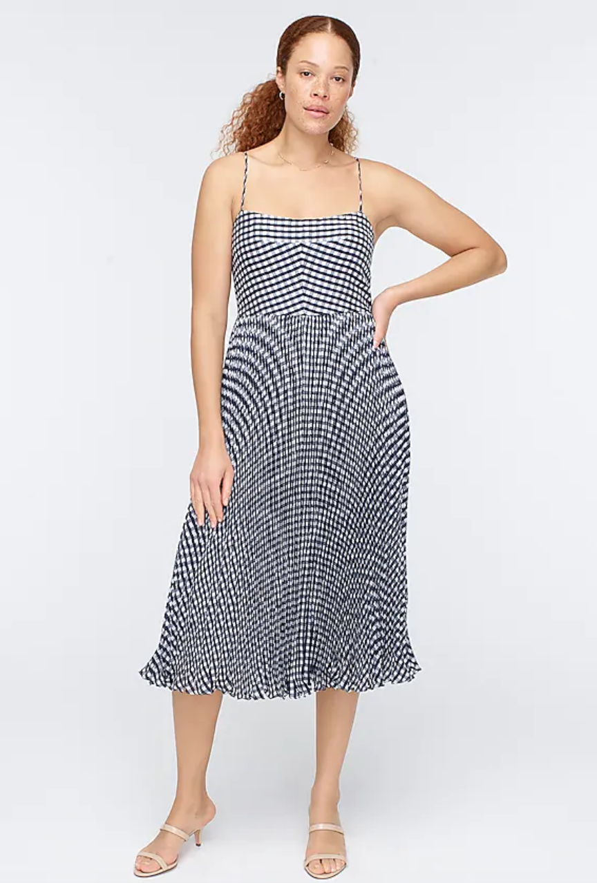 """<br> <br> <strong>J. Crew</strong> Pleated Midi Dress in Crinkle Gingham, $, available at <a href=""""https://go.skimresources.com/?id=30283X879131&url=https%3A%2F%2Fwww.jcrew.com%2Fp%2Fshops%2F50_off_select_styles%2Fdresses%2Fpleated-midi-dress-in-crinkle-gingham%2FAK665%3Fcolor_name%3Dkhaki-white"""" rel=""""nofollow noopener"""" target=""""_blank"""" data-ylk=""""slk:J. Crew"""" class=""""link rapid-noclick-resp"""">J. Crew</a>"""