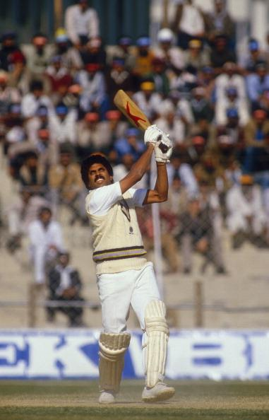 Kapil Dev, India v England, 2nd Test, Delhi, Dec 84.  (Photo by Patrick Eagar/Patrick Eagar Collection via Getty Images)