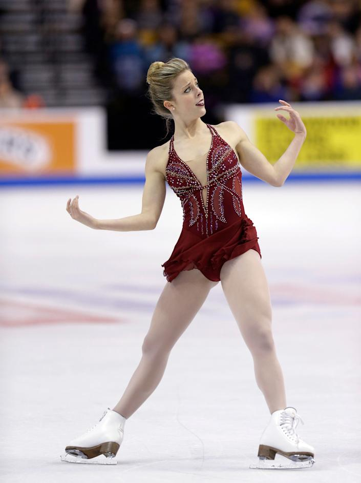 Ashley Wagner competes in the women's free skate at the U.S. Figure Skating Championships Saturday, Jan. 11, 2014 in Boston. (AP Photo/Steven Senne)