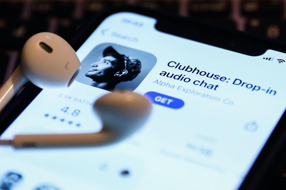 Clubhouse Drop-in audio chat app logo on the App Store is seen displayed on a phone screen in this illustration photo taken in Krakow, Poland on April 6, 2021.  (Photo Illustration by Jakub Porzycki/NurPhoto via Getty Images)