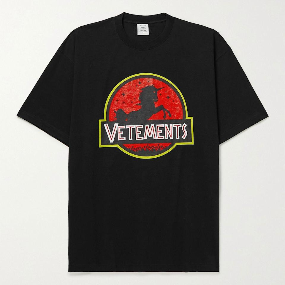 """<p><strong>Vetements</strong></p><p>mrporter.com</p><p><strong>$470.00</strong></p><p><a href=""""https://go.redirectingat.com?id=74968X1596630&url=https%3A%2F%2Fwww.mrporter.com%2Fen-us%2Fmens%2Fproduct%2Fvetements%2Fclothing%2Fprinted-t-shirts%2Foversized-logo-embroidered-printed-cotton-jersey-t-shirt%2F11452292647412059&sref=https%3A%2F%2Fwww.esquire.com%2Fstyle%2Fmens-fashion%2Fg36504642%2Fbest-new-menswear-may-21-2021%2F"""" rel=""""nofollow noopener"""" target=""""_blank"""" data-ylk=""""slk:Shop Now"""" class=""""link rapid-noclick-resp"""">Shop Now</a></p><p>I'd love to make a """"they should all be destroyed"""" joke here, but I wouldn't really mean it.</p>"""