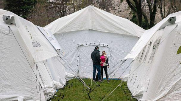 PHOTO: A field hospital is set up by Samaritan's Purse and FEMA at the East Meadow in Central Park amid a coronavirus outbreak in New York, March 30, 2020. (David Delgado/Reuters)