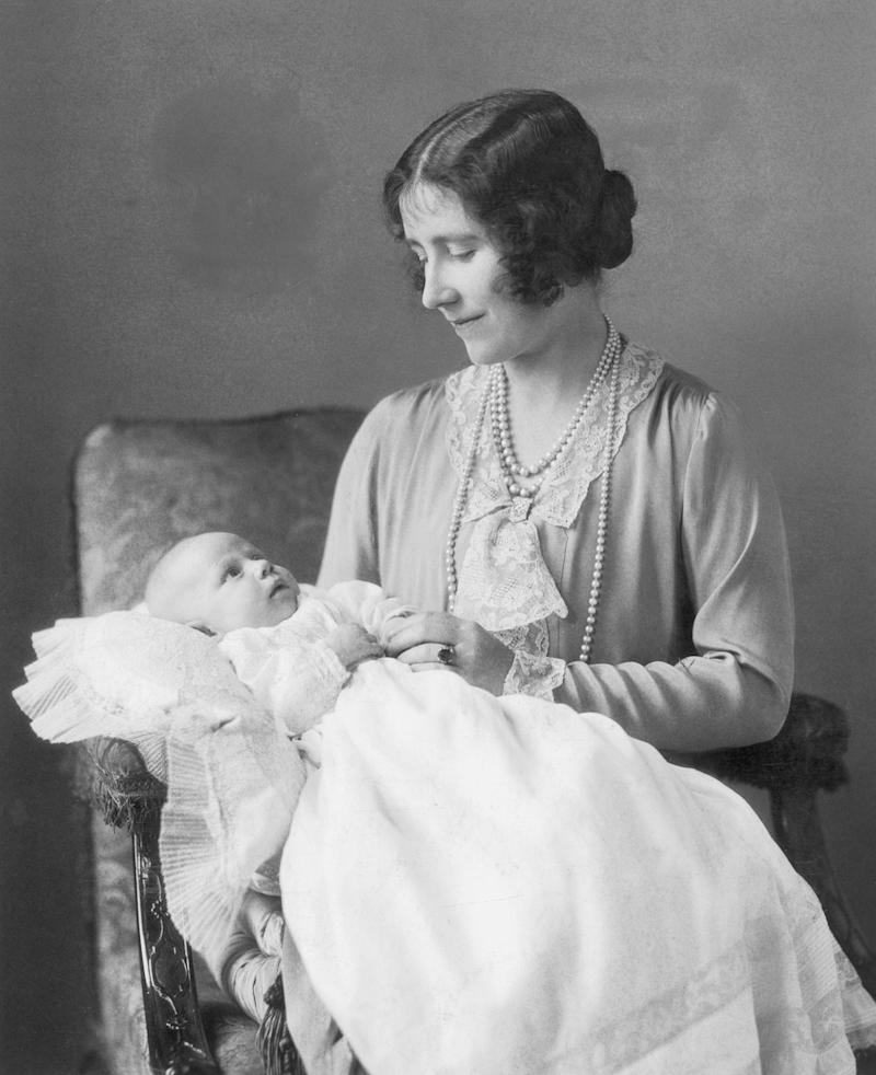 The Duke of York gave Lady Elizabeth Bowes-Lyon (aka Queen Elizabeth II's mother, who later in life was referred to as the Queen Mother or Queen Mum) a sapphire ring (which is something we'll see given to Windsor brides again and again as we make our way down the family tree). The ring had diamond accents and was complemented by a Welsh gold wedding band. Eventually, she decided to swap out her engagement ring for a large pearl surrounded by diamonds.
