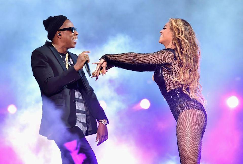 <p>The couple performing at their first On The Run tour in Chicago.</p>
