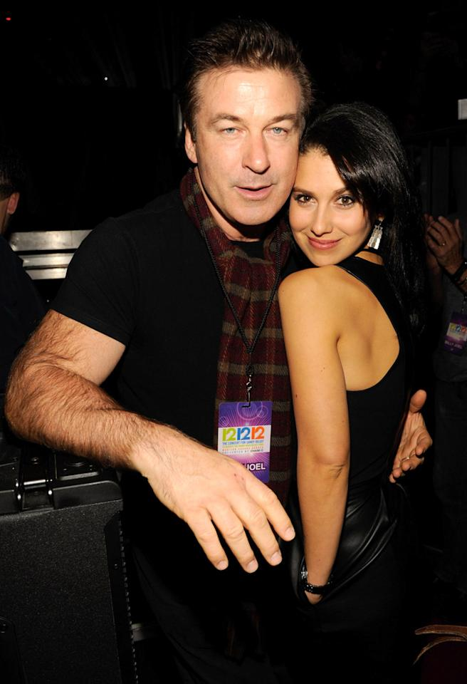"NEW YORK, NY - DECEMBER 12:  (Exclusive Coverage) Alec Baldwin and Hilaria Baldwin backstage during ""12-12-12"" a concert benefiting The Robin Hood Relief Fund to aid the victims of Hurricane Sandy presented by Clear Channel Media & Entertainment, The Madison Square Garden Company and The Weinstein Company at Madison Square Garden on December 12, 2012 in New York City.  (Photo by Kevin Mazur/WireImage for Clear Channel)"