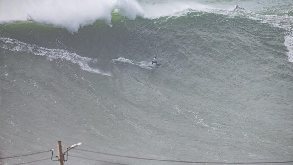 Maya Gabiera, pictured here in action at the 2020 Nazare Challenge.