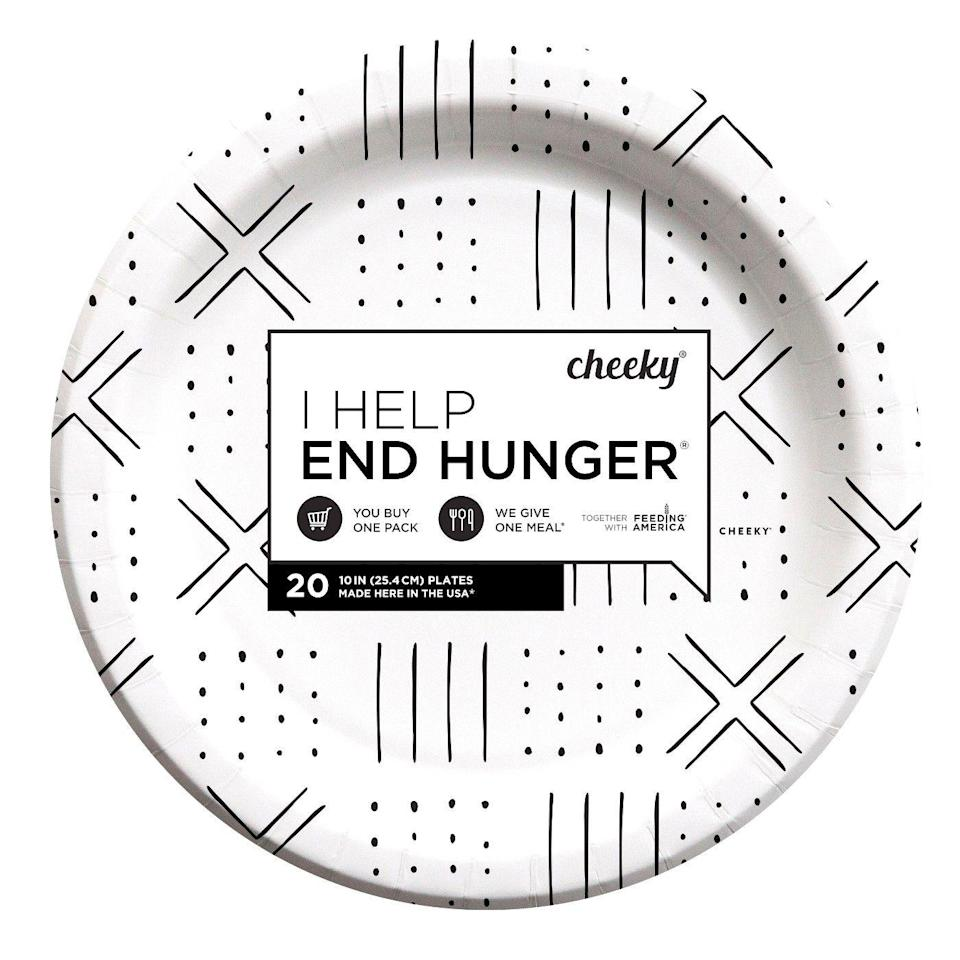 <p> For every Cheeky product you buy, the brand gives a meal to someone in the U.S. through Feeding America. Target goers are obsessed with the do-good angle — and the fun prints on Cheeky's disposable plates.</p>