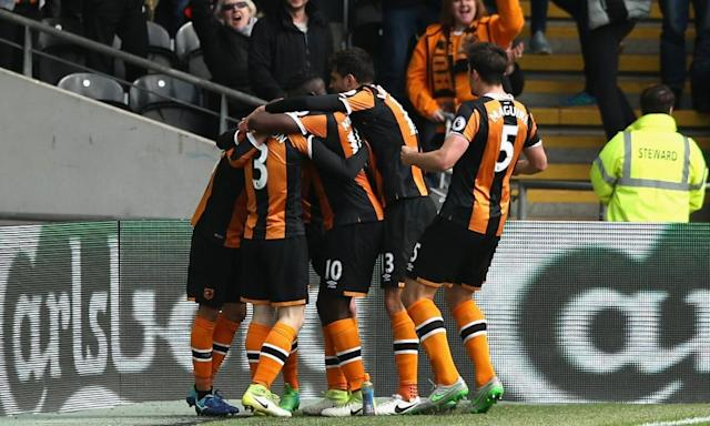 """<span class=""""element-image__caption"""">Sam Clucas of Hull celebrates with team-mates after scoring his side's second goal against Watford.</span> <span class=""""element-image__credit"""">Photograph: Jan Kruger/Getty Images</span>"""