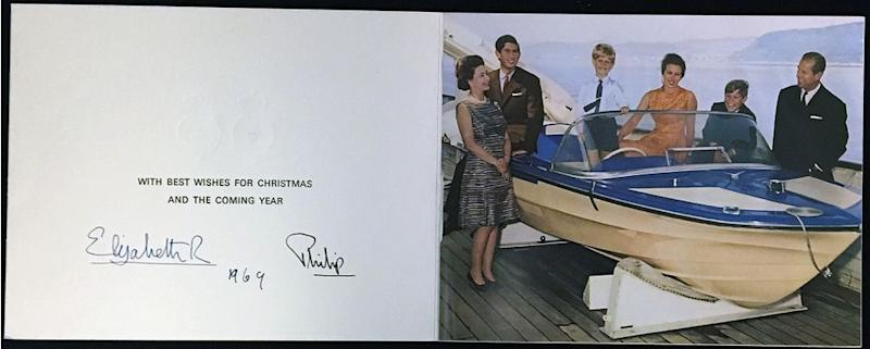 Queen Elizabeth, Prince Charles, Prince Edward, Princess Anne, Prince Andrew and Prince Philip in 1969's Christmas card | Rowleys/BNPS
