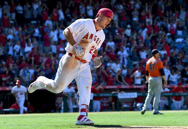 "<a class=""link rapid-noclick-resp"" href=""/mlb/teams/laa"" data-ylk=""slk:Los Angeles Angels"">Los Angeles Angels</a> star <a class=""link rapid-noclick-resp"" href=""/mlb/players/8861/"" data-ylk=""slk:Mike Trout"">Mike Trout</a> changed his Players' Weekend nickname to honor his brother-in-law Aaron Cox, who died last week, on Friday night against the <a class=""link rapid-noclick-resp"" href=""/mlb/teams/hou"" data-ylk=""slk:Houston Astros"">Houston Astros</a>. (Getty Images)"