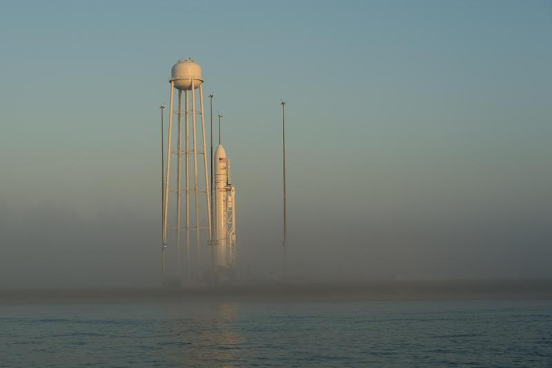 Picture provided by NASA shows the Orbital Sciences Corporation Antares rocket, with the Cygnus spacecraft onboard, at sunrise on July 12, 2014 on launch Pad-0A at NASA's Wallops Flight Facility in Virginia