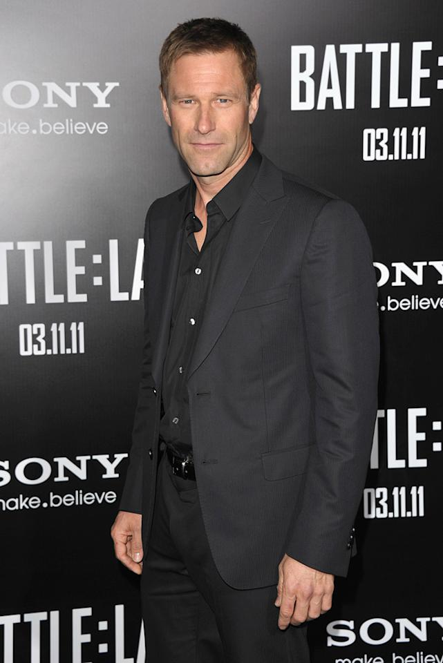 """<a href=""""http://movies.yahoo.com/movie/contributor/1800022565"""">Aaron Eckhart</a> at the Los Angeles premiere of <a href=""""http://movies.yahoo.com/movie/1810119633/info"""">Battle: Los Angeles</a> on March 8, 2011."""